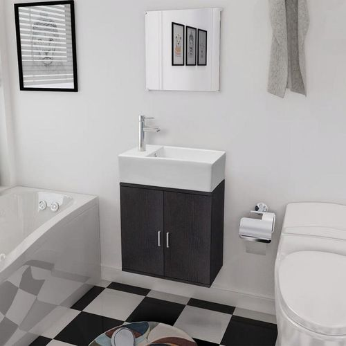 3-Dijelni Komplet Namještaja za Kupaonicu s Umivaonikom Crni  slika 1