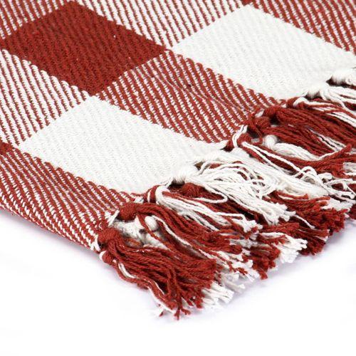 Pamučni pokrivač karirani 125 x 150 cm crvena boja kamena slika 5