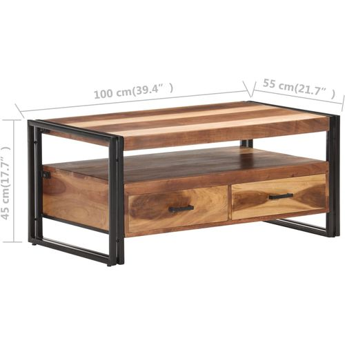 Stolić za kavu 100 x 55 x 45 cm od bagremovog drva i šišama slika 17