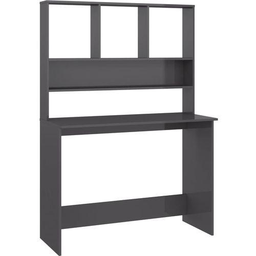 Radni stol s policama visoki sjaj sivi 110x45x157 cm iverica slika 28