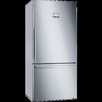 Serie | 6, Samostojeći hladnjak sa zamrzivačem na dnu, 186 x 86 cm, Nehrđajući čelik (s premazom protiv otisaka prstiju)    XXL kapacitet: pruža puno prostora za vašu hranu.    VitaFresh XXL: Vitamini u voću i povrću ostaju svježi dulje u klimatski kontroliranom prostoru.    NoFrost: Oprostite se od odmrzavanja hladnjaka sa zamrzivačem.    Perfect Fit: Uređaj se može postaviti pokraj bočnih zidova i pokućstva.    LED osvjetljenje: jednakomjerno osvijetli hladnjak za vrijeme cijelog životnog vijeka uređaja.