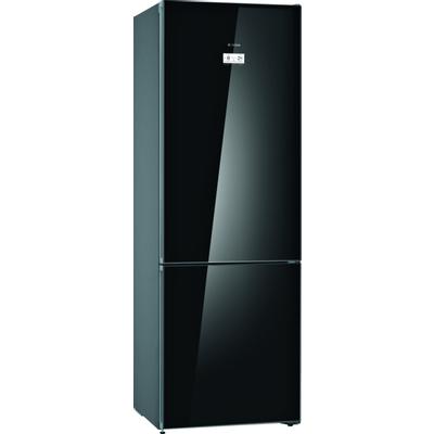 Serie | 6, Samostojeći hladnjak sa zamrzivačem na dnu, staklena vrata, 203 x 70 cm, Crna    NoFrost XXL hladnjak sa zamrzivačem i VitaFresh plus ladicom: čuva namirnice dulje svježima.        XXL kapacitet: pruža puno prostora za vašu hranu.    VitaFresh ladica: čuva hranu dulje svježom.    NoFrost: Oprostite se od odmrzavanja hladnjaka sa zamrzivačem.    Perfect Fit: Uređaj se može postaviti pokraj bočnih zidova i pokućstva.    LED osvjetljenje: jednakomjerno osvijetli hladnjak za vrijeme cijelog životnog vijeka uređaja.