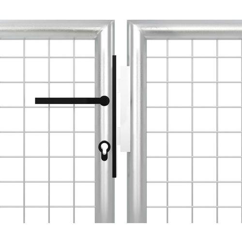Vrtna vrata čelična 400 x 200 cm srebrna slika 4