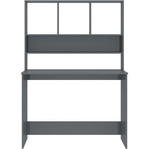 Radni stol s policama visoki sjaj sivi 110x45x157 cm iverica slika 4