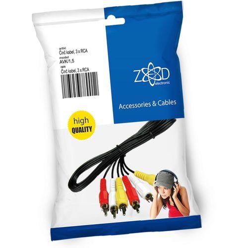 ZED electronic Činč kabel 1.5 met., 3 x RCA - AVK/1,5 slika 1