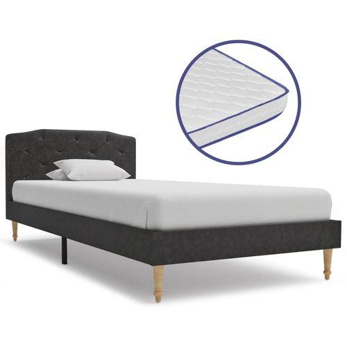 Krevet od tkanine s memorijskim madracem crni 90 x 200 cm slika 1