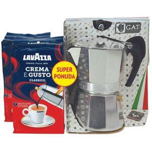 Set za pripremu tradicionalnog talijanskog kućnog espressa, sastoji se od dva pakiranja po 250g Lavazza espresso kave Crema e gusto i G.A.T. moka lončića, kafetijere za 3 šalice espresso kave.