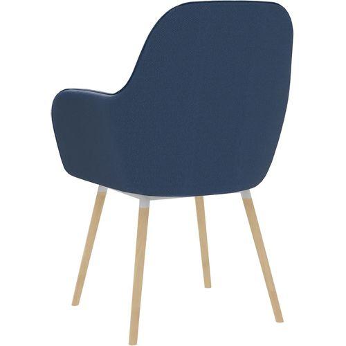 Blagovaonske stolice s naslonima za ruke 2 kom plave od tkanine slika 5