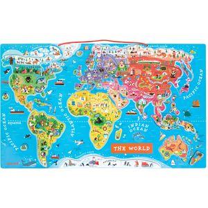 Ova velika karta svijeta s magnetima na engleskom jedna je od najprodavanijih Janod igračaka. Napravljena je od drveta i dolazi sa 92 magneta koje su u stvari i puzzle koje se slažu na kartu. Svaka puzzla ima na sebi ime i sliku karaketrističnu za pojedinu zemlju.