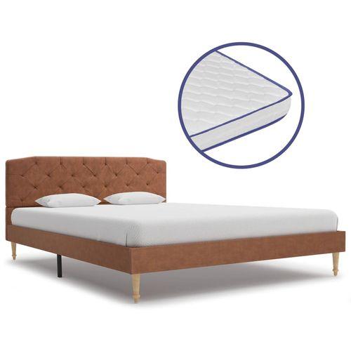 Krevet od tkanine s memorijskim madracem smeđi 140 x 200 cm slika 1