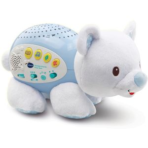 Soothe your baby to sleep with the Starlight Sounds Polar Bear.  The cute, soft and cuddly polar bear features 4 modes of play with a 15, 30 or 45 minute timer, a light control button and an adjustablevolume dial.   The polar bear projects four different coloured lights with the option of 6 different light displays onto the ceiling which can be combined with thecalming nature soundsor lullabies.  Thelullaby modeoffers3 soothing sung songs and 60 melodies, whilst the additional story mode has 7 popular nursery rhymes that will be read.