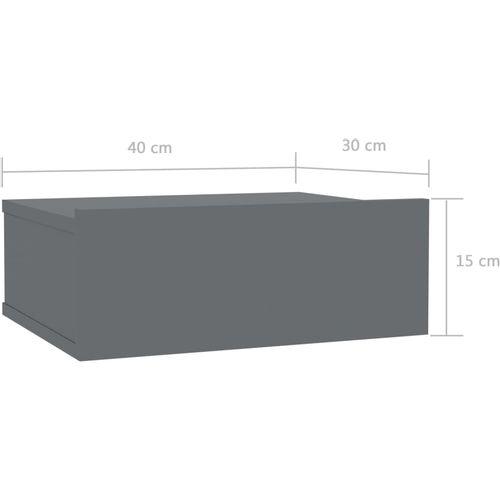 Viseći noćni ormarići 2 kom sjajni sivi 40x30x15 cm od iverice slika 7
