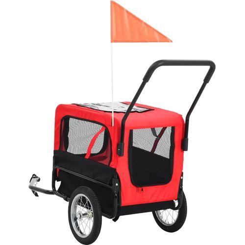 2-u-1 prikolica za bicikl i kolica za kućne ljubimce crveno-crna slika 10