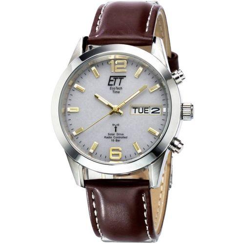 Radijski kontrolirani solarni ručni sat EGS-11248-12L (promjer x V) 40 mm x 130 mm srebrne boje, kućište: plemeniti čelik, materijal narukvice: koža slika 1