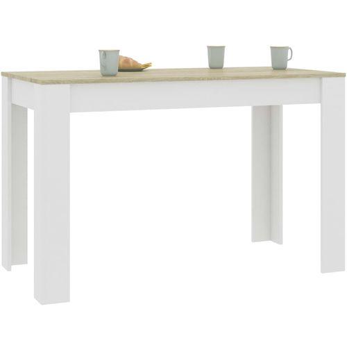 Blagovaonski stol bijeli i boja hrasta 120 x 60 x 76 cm iverica slika 3
