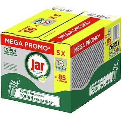 Tablete za strojno pranje posuđa Jar Platinum Lemon čiste već iz 1. pokušaja.  Njihova formula uspješno savladava i najzahtjevnije izazove čišćenja kako bi vaše posuđe bilo blistavo čisto.  U paketu dolazi ukupno 85 tableta u 5 manjih pakiranja.