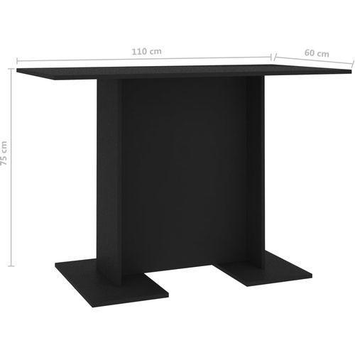Blagovaonski stol crni 110 x 60 x 75 cm od iverice slika 6