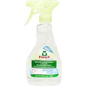 Frosch odstranjvač mrlja bebe sprej    Frosch Baby odstranjivač mrlja Moćni odstranjivač mrlja za tvrdokorne i sasušene mrlje sa dječje odjeće. Snažna formula sa dodacima biljnog podrijetla i velikom količinom enzima djeluje efikasno protiv mrlja i čuva boje tkanina u isto vrijeme. Prska se direktno na mrlju i zajedno sa deterdžentom pojačava čišćenje i jačinu uklanjanja mrlja pri pranju.