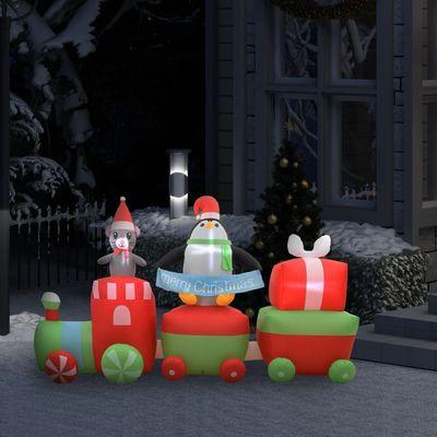 Naš božićni pingvin i miš na napuhavanje na vlaku spremni su za upotrebu, šireći raspoloženje i uljepšavajući blagdanski duh! Napravljen od tkanine, ovaj vlak na napuhavanje lagan je, otporan na vremenske utjecaje, vodootporan, kao i izdržljiv....