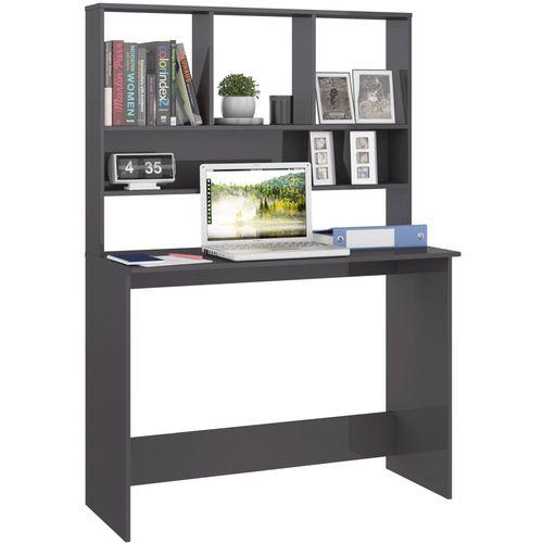 Radni stol s policama visoki sjaj sivi 110x45x157 cm iverica slika 23