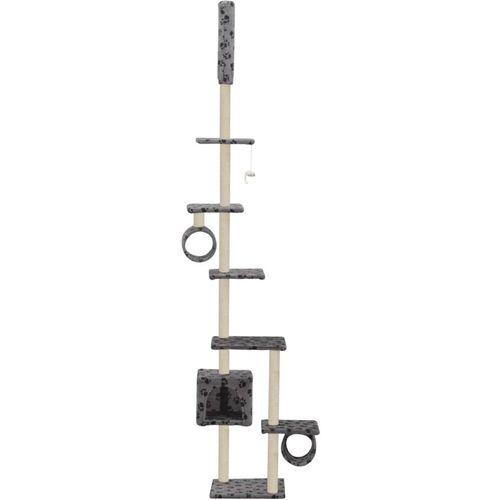 Penjalica za mačke sa stupovima za grebanje od sisala 260 cm siva s otiscima šapa  slika 3