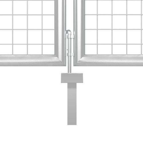 Vrtna vrata čelična 400 x 200 cm srebrna slika 8