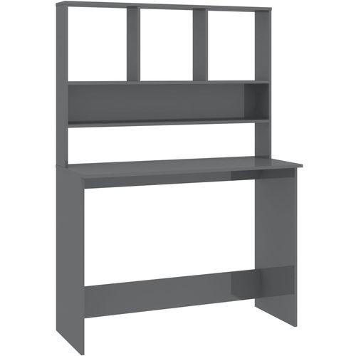 Radni stol s policama visoki sjaj sivi 110x45x157 cm iverica slika 2