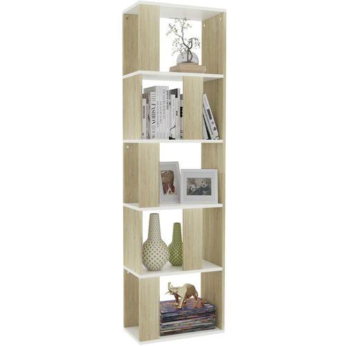 Ormarić za knjige / pregrada bijeli/hrast 45x24x159 cm iverica slika 3
