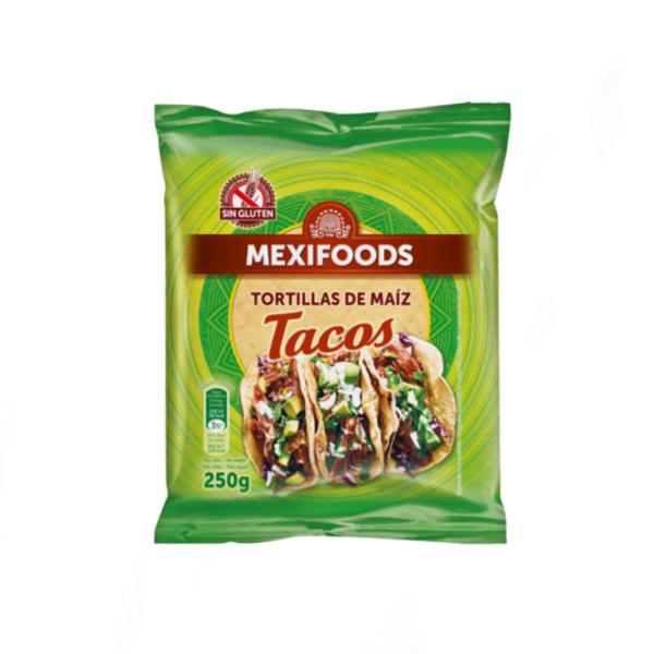 MEXIFOOD Meksičke palačinke (tortilje)od kukuruznog  brašna 15 cm 10 kom    Neto masa: 250g    Proizvođač: Mexifoods SL, Calle Paloma 2, Madrid, Španjolska    Zemlja podrijetla: EU
