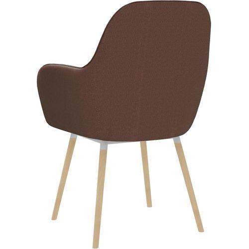 Blagovaonske stolice s naslonima za ruke 2 kom smeđe od tkanine slika 5