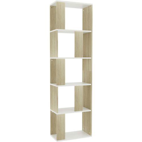 Ormarić za knjige / pregrada bijeli/hrast 45x24x159 cm iverica slika 2