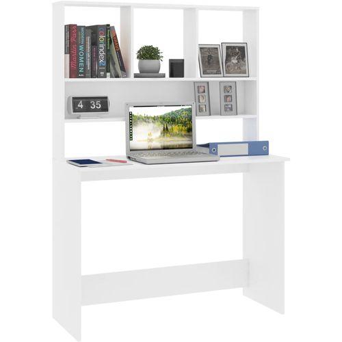 Radni stol s policama bijeli 110 x 45 x 157 cm od iverice slika 3