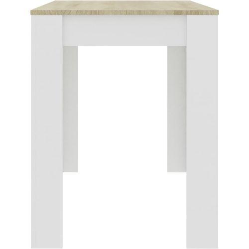 Blagovaonski stol bijeli i boja hrasta 120 x 60 x 76 cm iverica slika 5