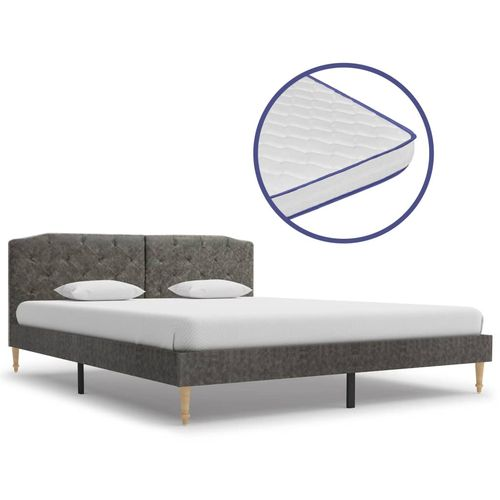 Krevet od tkanine s memorijskim madracem tamnosivi 160 x 200 cm slika 1