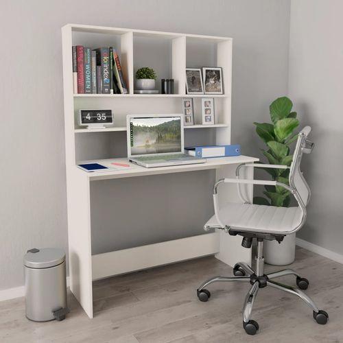 Radni stol s policama bijeli 110 x 45 x 157 cm od iverice slika 7