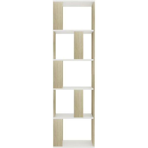 Ormarić za knjige / pregrada bijeli/hrast 45x24x159 cm iverica slika 14