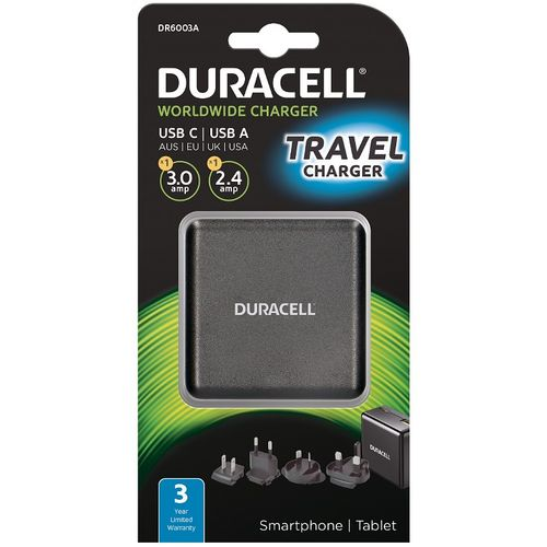 Duracell Travel Adapter Charger - Type-C/Type-A - 3A + 2.4A - Black  slika 1