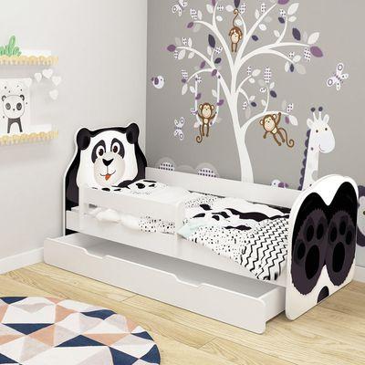 Krevet za djecu s ladicom sa oblikom životinja – 160×80 cm Uključeni madrac i podnica. Vi odlučite o položaju ogradice tijekom montaže. Može biti slijeva ili desna.