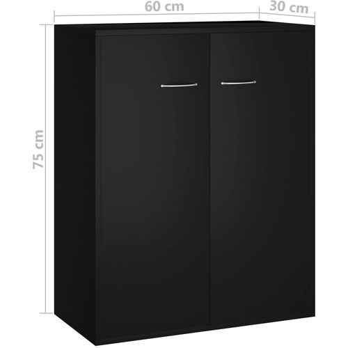Komoda crna 60 x 30 x 75 cm od iverice slika 16