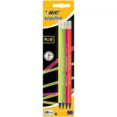 'Bic Evolution Fluo HB olovka ima heksagonalni oblik. Ultra otporna olovka na udarce s izdržljivim grafitnim punjenjem. Olovka sadrži gumice na vrhu kako bi se prepravke mogle provoditi brže i lakše.