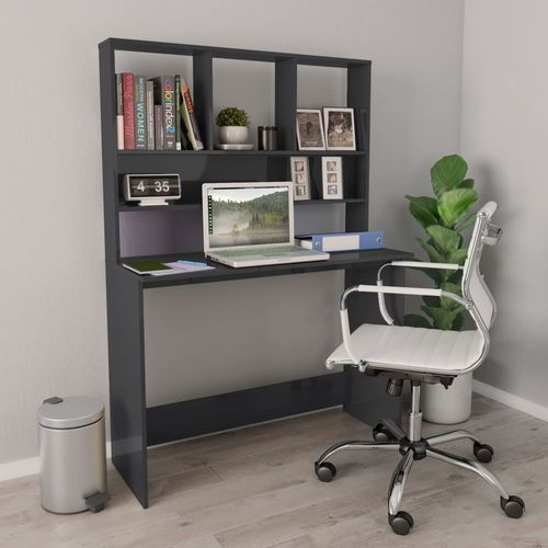 Radni stol s policama visoki sjaj sivi 110x45x157 cm iverica slika 7