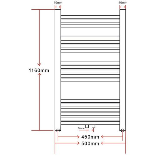 Kupaonski Radijator za Centralno grijanje Zaobljenih cijevi 500 x 1160mm Bočni & Srednji priključak slika 18