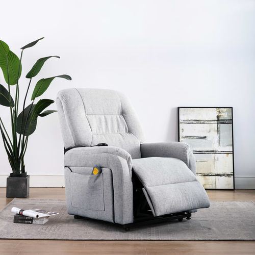 Električni masažni TV naslonjač od tkanine svjetlosivi slika 3