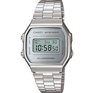 Ručni sat CASIO A168WEM-7EF je digitalni sat s izdržljivom narukvicom od nehrđajućeg čelika koja osigurava čvrstoću vašeg sata a i pridaje mu elegantan izgled. Sat ima štopericu, alarm, automatski kalendar i mogućnost 12-satnog i 24-satnog prikaza vremena. Otporan je na špricanja i kraći kontakt s vodom, svaki veći i duži kontakt s vodom bi trebao biti izbjegavan. U sat je ugrađeno svjetlo koje vam olakšava vidljivost u uvjetima slabijeg osvjetljenja. Dugotrajna baterija. Mineralno staklo štiti sat od ogrebotina.