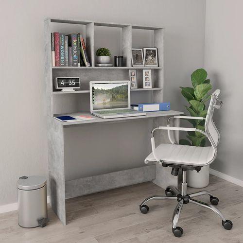 Radni stol s policama siva boja betona 110x45x157 cm iverica slika 7