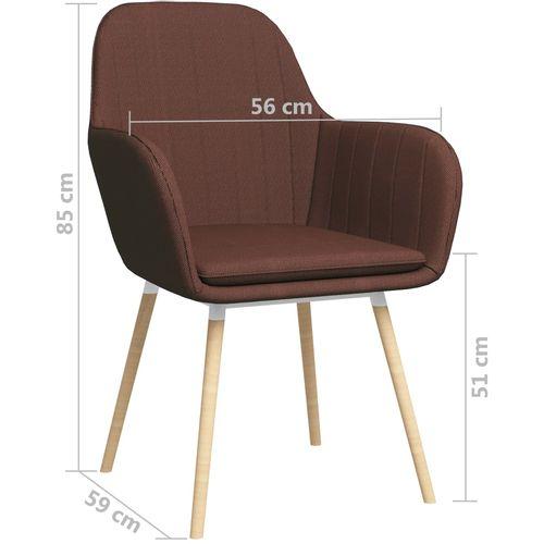 Blagovaonske stolice s naslonima za ruke 2 kom smeđe od tkanine slika 7