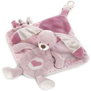 Doudou tješilica sadrži čvoriće za masažu zubića i trakicu za kopčanje dude, a pružit će osjećaj sigurnosti i utjehe kako bi dijete moglo mirno spavati.