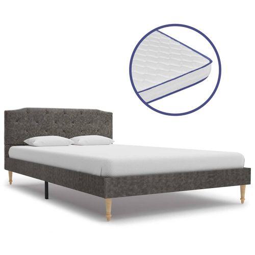 Krevet od tkanine s memorijskim madracem tamnosivi 120 x 200 cm slika 1