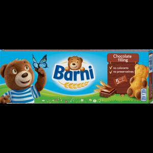 Barni Choco 5x30 g=150 g  Otkrijte ono najbolje kod Barnija. Ukusan mekani biskvit u obliku razigranog medvjedića s punjenjem. Pripremamo ih od nekoliko jednostavnih sastojaka visoke kvalitete: brašno, jaja, mlijeko, čokolada. Mekani biskvit s čokoladnim punjenjem 30%.