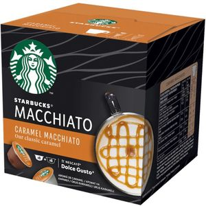 Isprobaj novi NESCAFÉ Dolce Gusto Starbucks! Kao inspiracija joj je poslužio omiljeni STARBUCKS Caramel Macchiato, prepustite se blaženstvu okusa mlijeka i karamele. Priprema se kod kuće pomoću aparata NESCAFÉ® Dolce Gusto®. Kapsule za kavu STARBUCKS by NESCAFÉ® Dolce Gusto® prikladne su za upotrebu s aparatima za kavu NESCAFÉ® Dolce Gusto®.